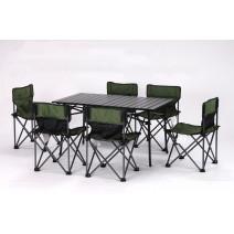 Bộ bàn ghế xếp dã ngoại ZYT161 (xanh rêu) (1 bàn 6 ghế)