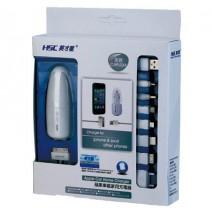Bộ sạc điện thoại đa năng cho ô tô HSC (kèm dây sạc iPhone + iPad + các loại điện thoại khác)