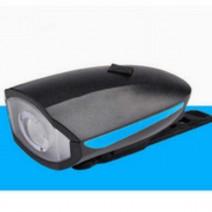 Đèn chiếu sáng tích hợp kèn xe đạp T6 sạc USB (sọc xanh dương)