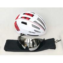 Nón bảo hiểm kèm kính DEPRO Google (trắng đỏ)