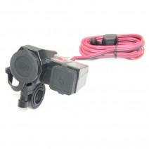 Bộ mount cổng hút thuốc 12V và 2 cổng USB trên xe mô tô YESMAX 716