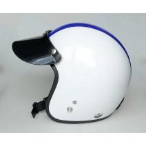 Nón bảo hiểm xe máy loại 3/4 đầu Damtrax (trắng sọc xanh dương)