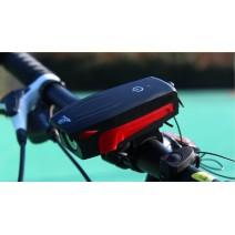 Đèn chiếu sáng tích hợp kèn xe đạp AS0909 sạc USB (sọc đỏ) (400 lumen) (130db)