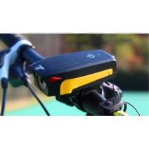 Đèn chiếu sáng tích hợp kèn xe đạp AS0909 sạc USB (sọc vàng) (400 lumen) (130db)