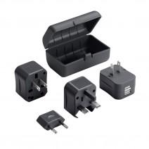 Bộ phích cắm du lịch Lewis N. Clark Adapter Plug Kit (2 cổng sạc USB) (dùng cho hơn 175 quốc gia) (đen) (LNC EK135)
