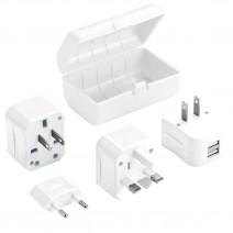 Bộ phích cắm du lịch Lewis N. Clark Adapter Plug Kit (2 cổng sạc USB) (dùng cho hơn 175 quốc gia) (trắng) (LNC EK135)